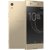 Sony Xperia XA1 Gold with Laptop