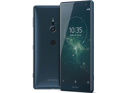 Sony Xperia XZ2 Blue with iPad and Tablet