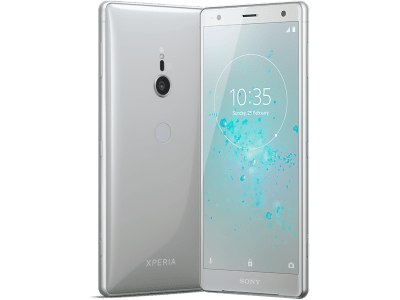 Sony Xperia XZ2 Silver with Laptop