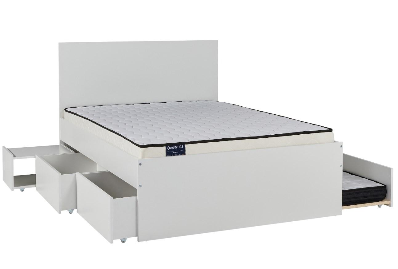 lit avec rangements 140x190 cm rava pas