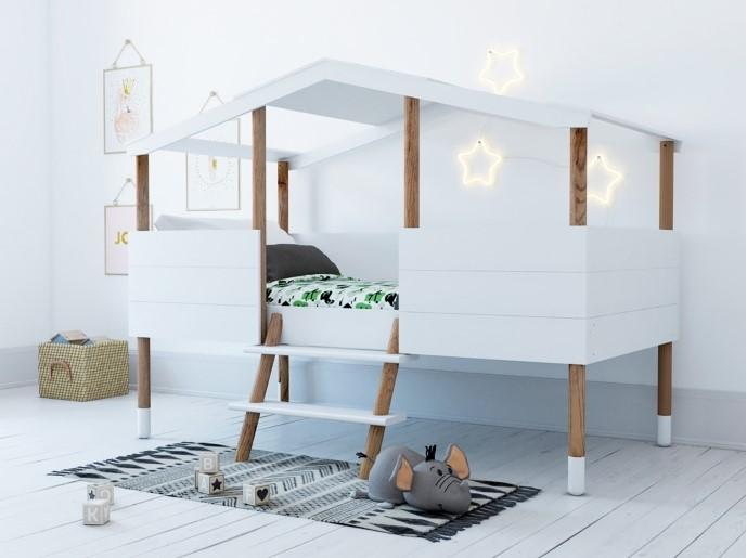 lit cabane 90x190 ou 90x200 cm koby pas