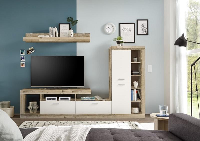 mur tv lara imitation chene et blanc