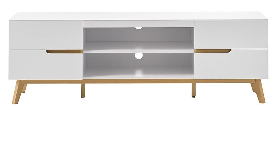 meuble tv scandinave skive blanc mat et