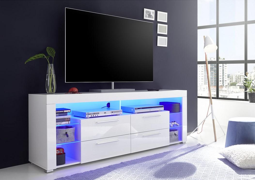 meuble tv led space blanc laque pas