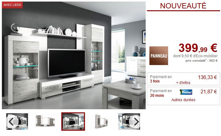 mur tv amory avec rangements leds blanc