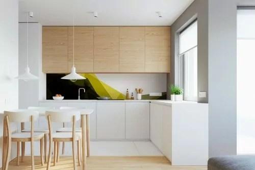 credence de cuisine design jaune et noir