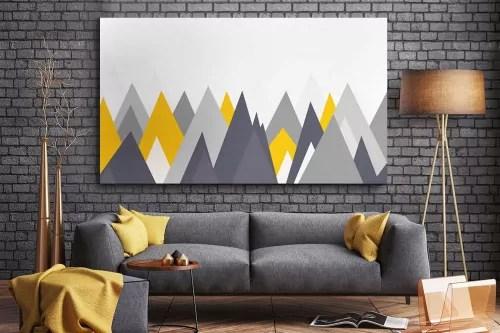 tableau scandinave montagnes grises et jaunes