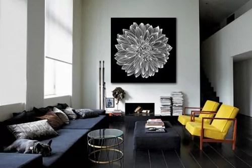 tableau design dalhia noir et blanc