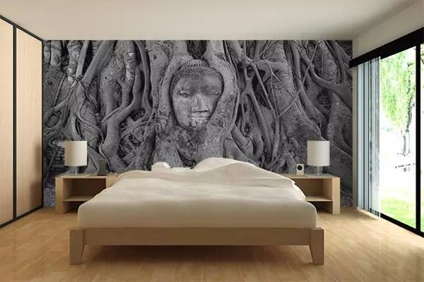 papier peint panoramique chambre bouddha ayutthaya
