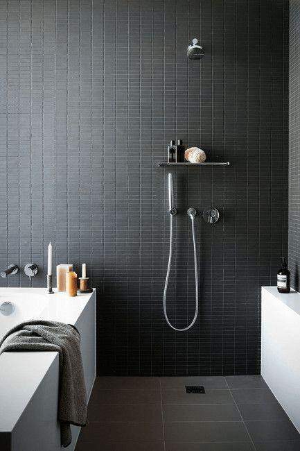 Salle de bain gris monochrome