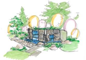 デザインに少し遊び心を加えています。壁から水が噴き出す壁泉をデザインしました。