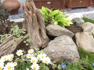 枯木に北海道の自然石を合わせて植栽を施しました。