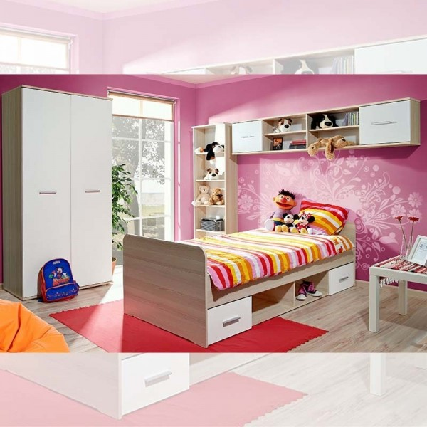 asm chambre complete enfant dino i 4 elements chene clair