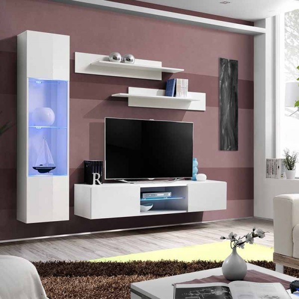 meuble tv mural laque blanc 1 buffets et 2 etageres blanches fly r3 200 x 40 x 180cm
