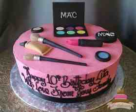 (168) Make-Up Theme Birthday Cake