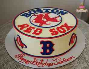 (165) Red Sox Birthday Cake