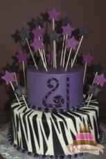 (106) Zebra Print 21st Birthday Cake