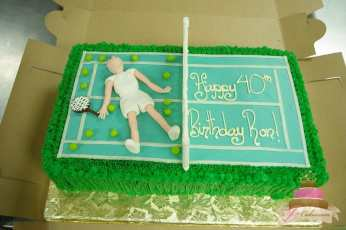 (128) Tennis Court Birthday Cake