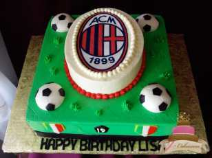 (135) Soccer Theme Birthday Cake