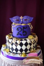 (138) Mardi Gras Theme Birthday Cake