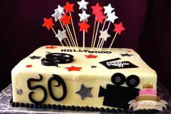 (145) Hollywood Theme 50th Birthday Cake