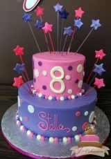 (410) Pink and Purple Birthday Cake