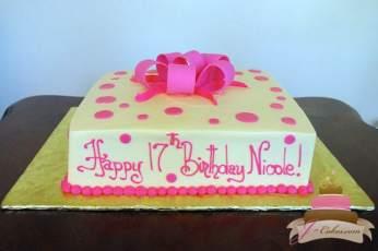 (415) Pink Polka Dot Birthday Cake