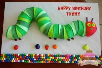 (459) Very Hungry Caterpillar Shaped Birthday Cake