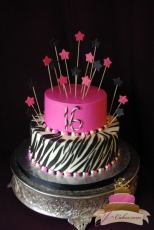 (906) Pink, Black, and White Zebra Stripe Sweet 16 Cake