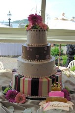 (907) Pink and Brown Tiered Sweet 16 Cake