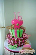 (914) Tapered Pink, Green, and Brown Masquerade Sweet 16 Cake