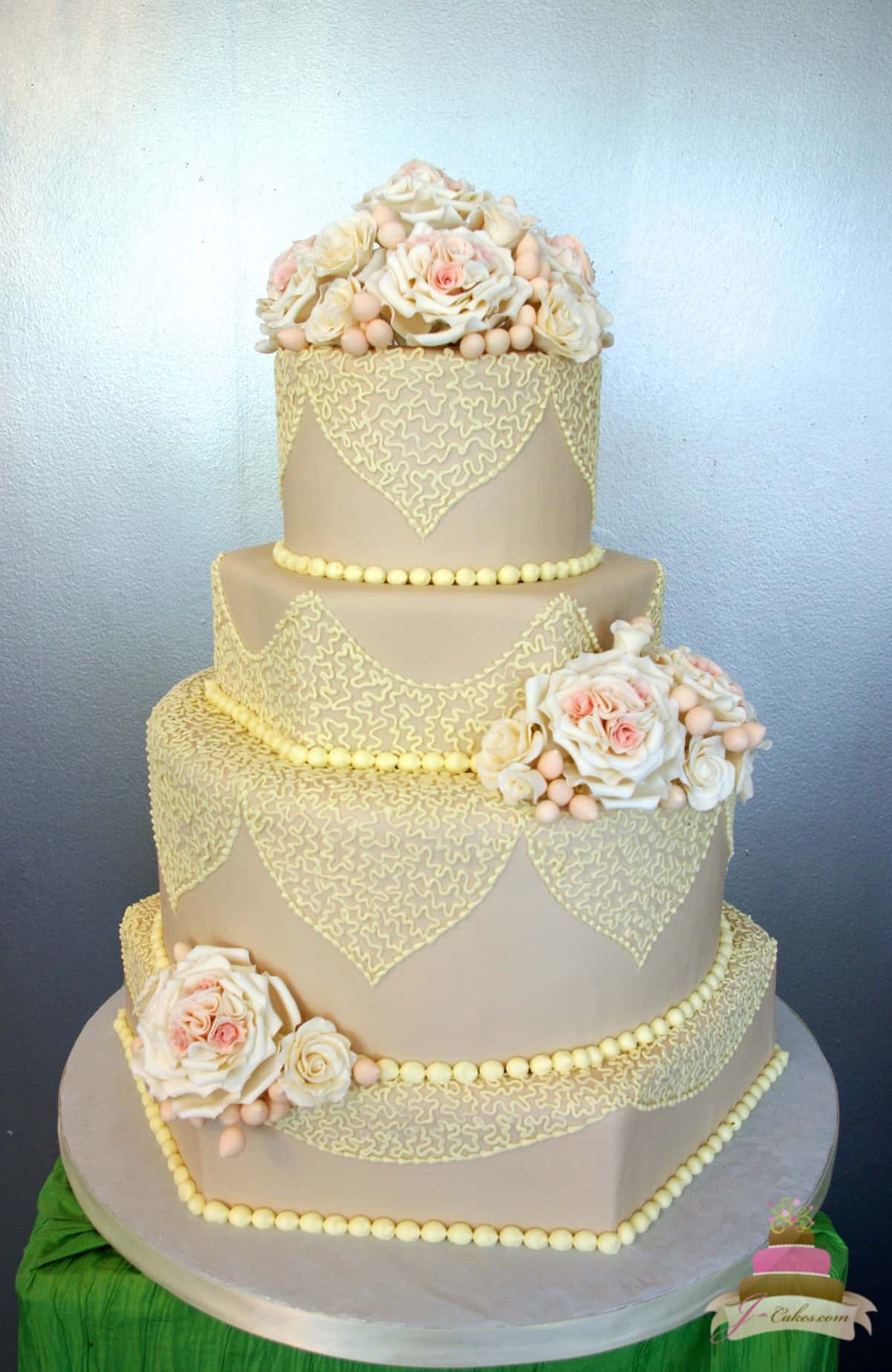 Beautiful and Delicious Wedding Cakes in CT  1150  Taupe Fondant and Lace Wedding Cake