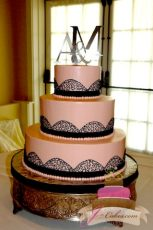 (1010) Pink Wedding Cake with Black Cornelli Lace Arches