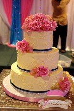 (1040) Variety of Scrolls Wedding Cake with Rhinestones