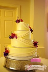 (1058) Fondant Swag Wedding Cake with Rhinestones
