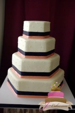 (1064) Hexagonal Wedding Cake with Dots