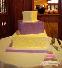 (1069) Purple and White Wedding Cake