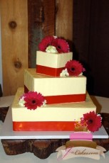 (1073) Off-Set Square Wedding Cake with Red Ribbon