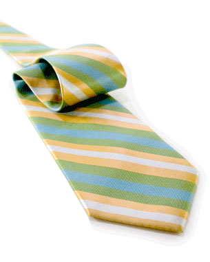 Wide Ridged Stripes Tie in Yellow/Light Green/Light Blue/Silver-White