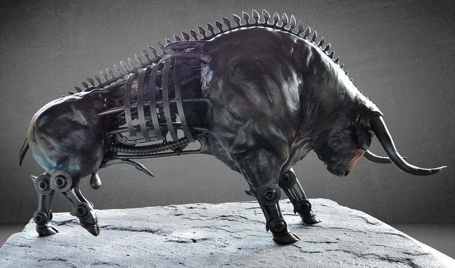 sculptuur ontwerp van een cyborg diermodel met een mooie metalliek finish