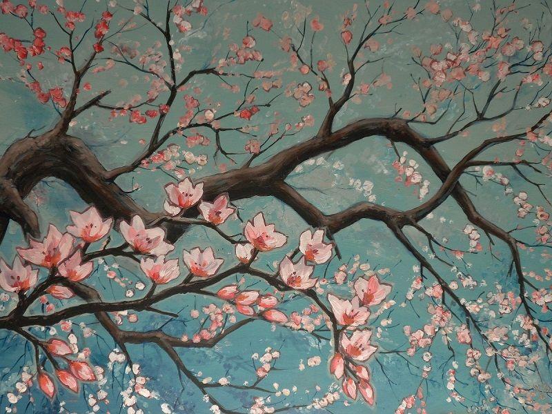 Schilderij cherry Blossom, japanse stijl.