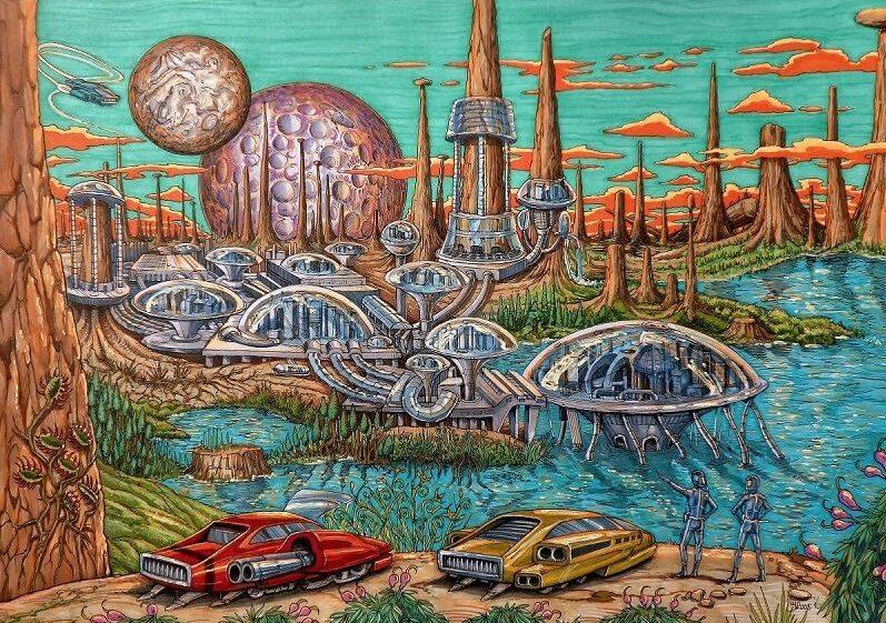 Tekening Sci-fi kolonie een eigen ontworpen decor hoe de toekomstige wereld eruit kan komen zien. Deze science fiction wereld is designed door Jaap Roos Art
