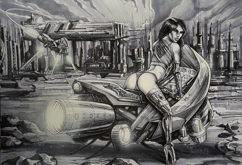 Cartoon stijl, comic futuristische motor met sexy vrouw.