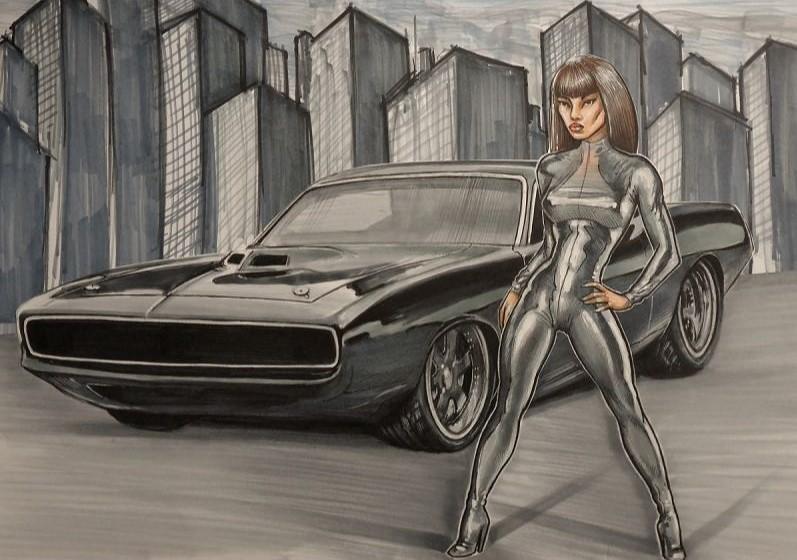 Cartoon tekening met muscle car cuda girl