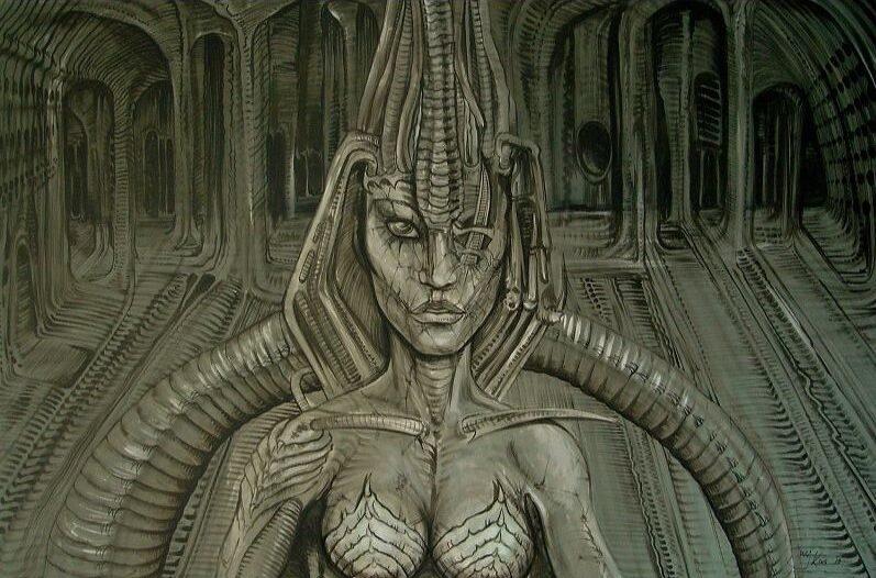 Filmdecor ontwerp van cyborg vrouwengezicht.