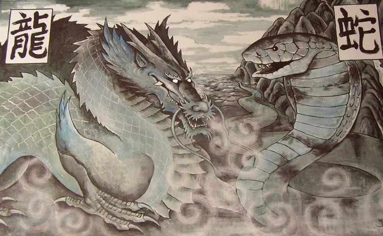 Schilderij chinese draak en slang