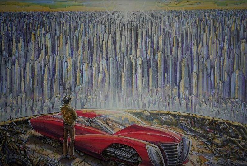 Futuristische kunst tekening. De comic bevalt een sci-fi auto met science fiction decor. De tekening is een eigen creatie van kunstschilder Jaap Roos