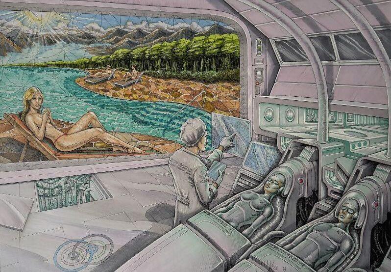 Futuristische stripfiguur tekening. Gebruikt ter inspiratie voor een filmdecor