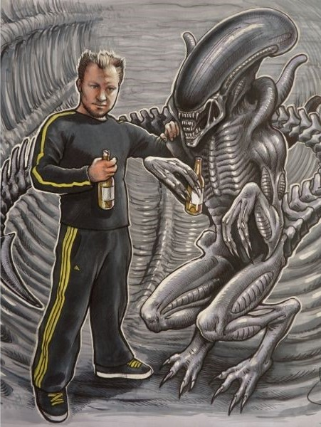 Cartoon Tekening waarbij ik een gezellige biertje drink met filmster Alien. Getekend door cartoonist Jaap Roos