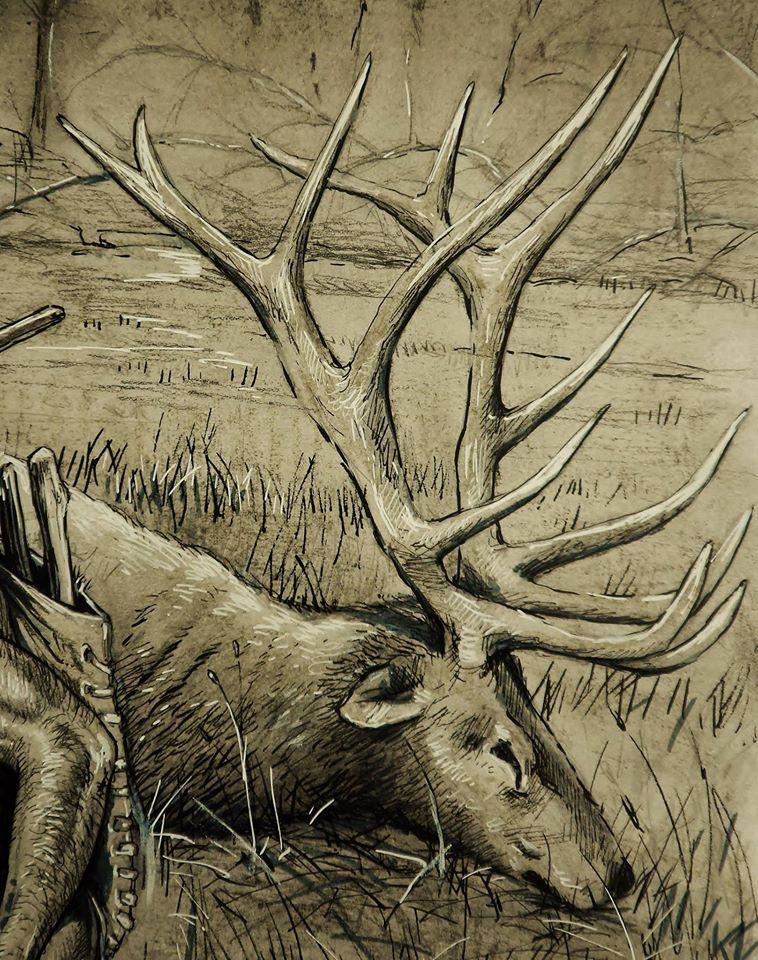 Paleokunst schilderij van het reuzenhert gemaakt door paeokunstenaar Jaap Roos